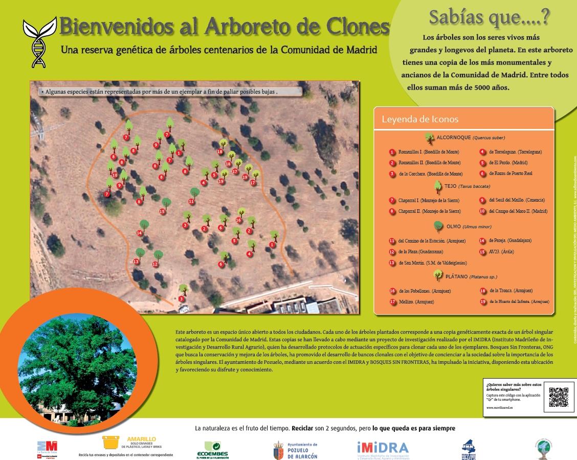 Cartel Bienvenida al Arboreto.